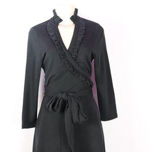 BANANA REPUBLIC BLACK STRETCH WOOL WRAP DRESS M